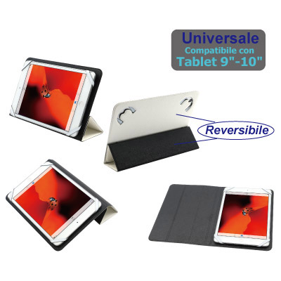 "Custodia nera per tablet 9-10"" in ecopelle"