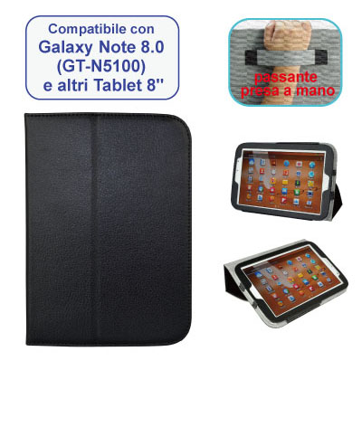 Custodia nera Samsung Galaxy Note 8.0 in ecopelle