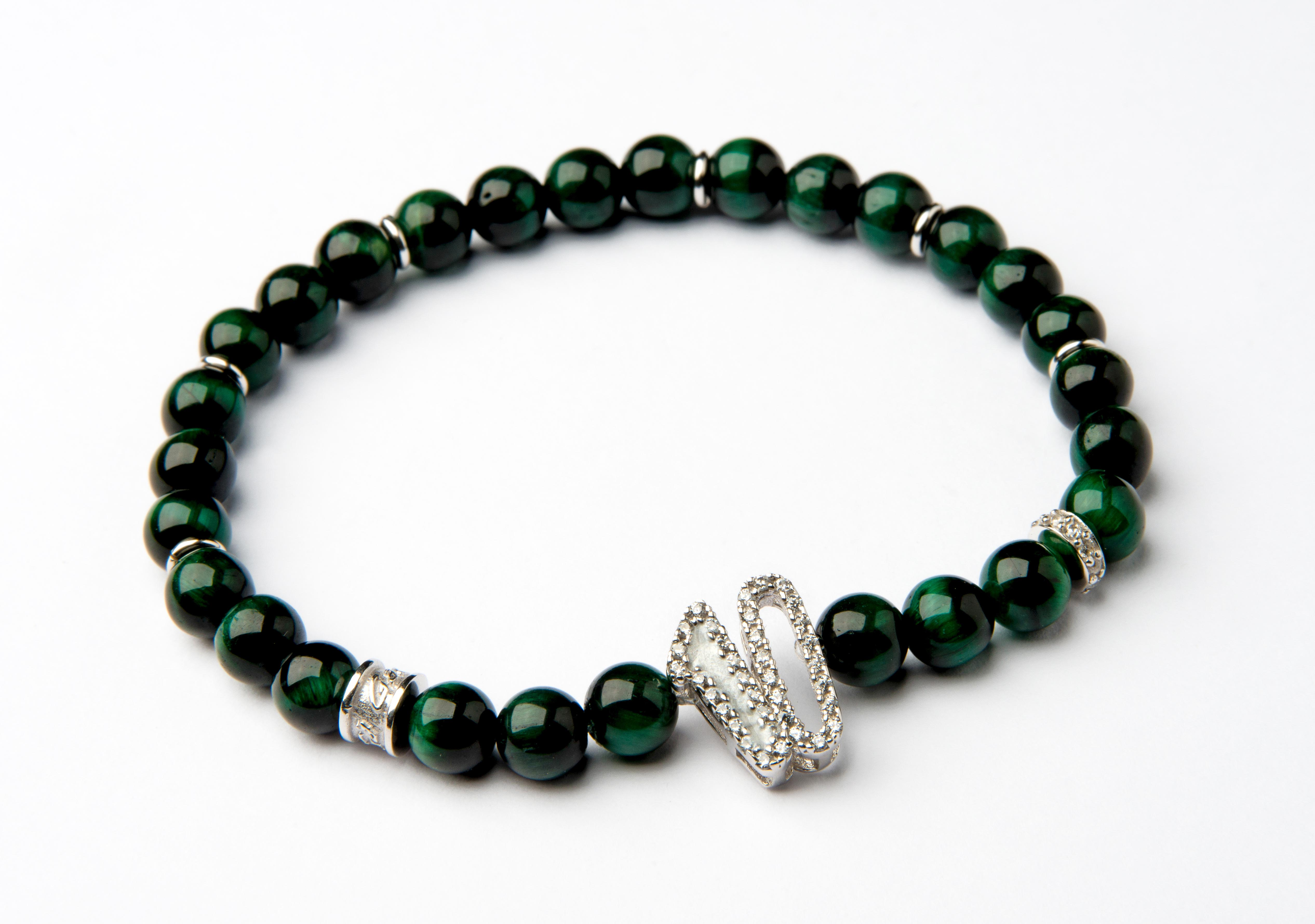 Number: 10 Silver, Mother Of Pearl, Ematite Green - 10WHGR